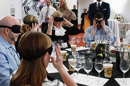 blindfolded wine sipping